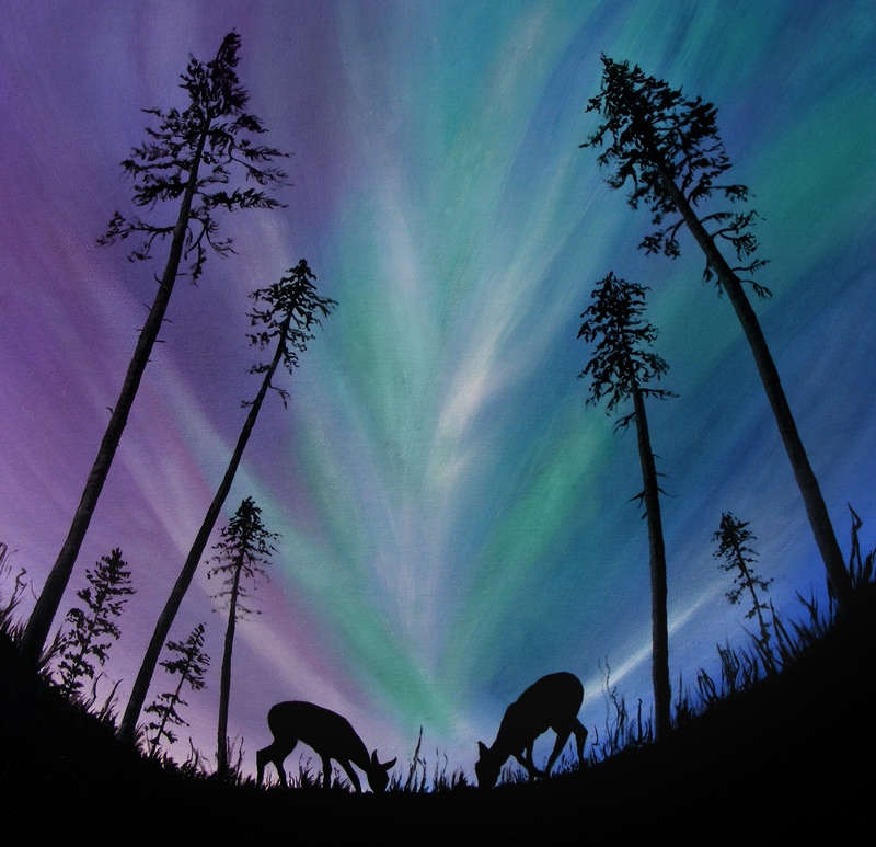 Deer Grazing Over Northern Lights